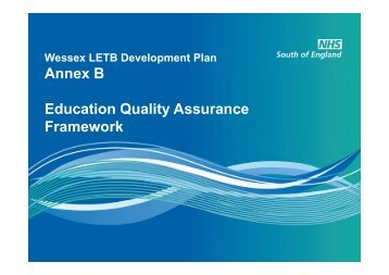 Annex B Education Quality Assurance Framework - Workforce and ...