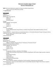 Moravian Academy Upper School Course of Study 2012-13