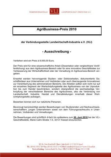 AgriBusiness-Preis 2010 - Ausschreibung -