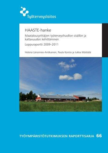 HAASTE-hanke - Työterveyslaitos