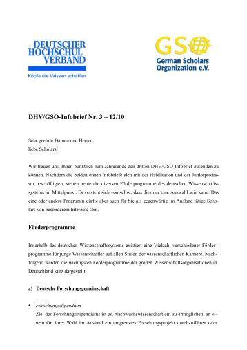 DHV/GSO-Infobrief Nr. 3 – 12/10 - German Scholars Organization