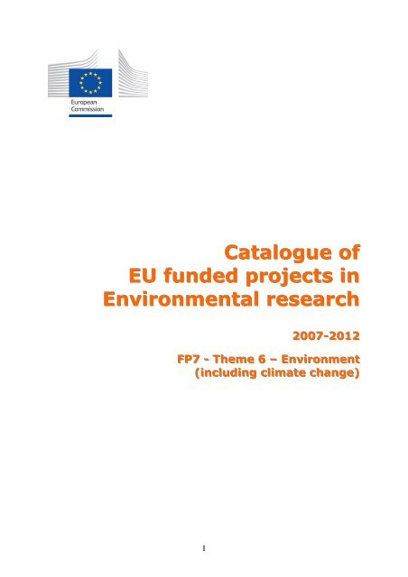 Catalogue Of Eu Funded Projects In Environmental Research Gppq