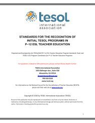 Standards for the Recognition of Initial TESOL Programs