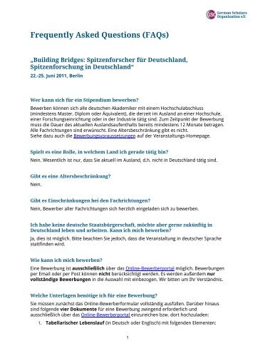 Frequently Asked Questions (FAQs) - German Scholars Organization