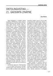 ontolingvistika — 21. gadsimta zinātne - Latvijas Zinātņu Akadēmija