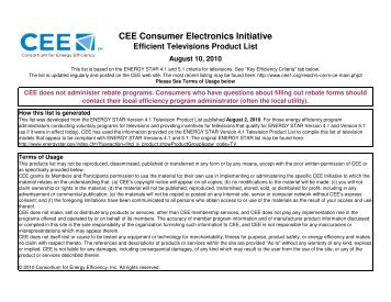 CEE Consumer Electronics Initiative Efficient Televisions Product List