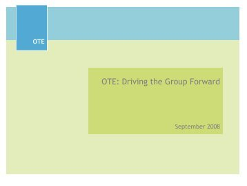 OTE: Driving the Group Forward - Rational Investing
