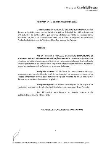 EDITAL DE SELEÇÃO Nº /2007 - Fundação Casa de Rui Barbosa