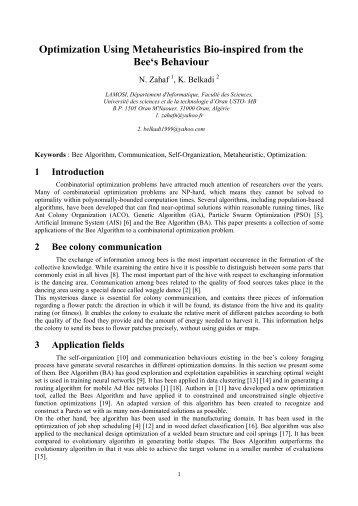 Optimization Using Metaheuristics Bio-inspired from the Bee's ... - LIFL