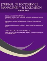 2013 Volume 7, Issue 1 - Foodservice Systems Management
