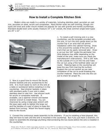 How to Install a Complete Kitchen Sink - Grover Electric and ...
