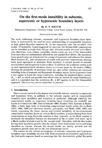 On the first-mode instability in subsonic, supersonic or hypersonic ...