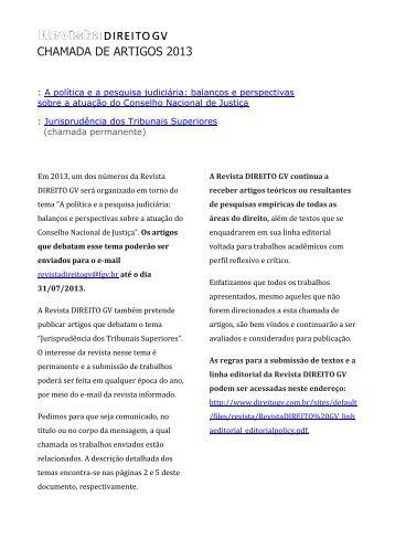 CHAMADA DE ARTIGOS 2013 - Escola de Direito de São Paulo ...