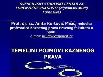 temeljni pojmovi kaznenog prava - Sveučilišni odjel za forenzične ...