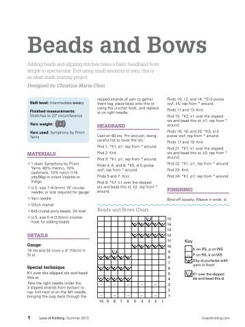 Beads and Bows - Love of Knitting