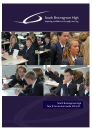South Bromsgrove High Year 9 Curriculum Guide 2011/12