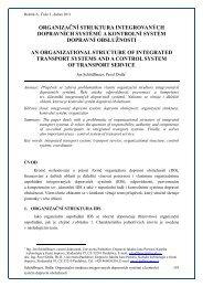 Organizační struktura integrovaných dopravních systémů a kontrolní