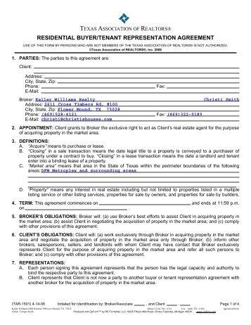 Residential Buyer Tenant Representation Agreement Keller Williams