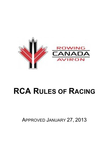 RCA RULES OF RACING - Rowing Canada