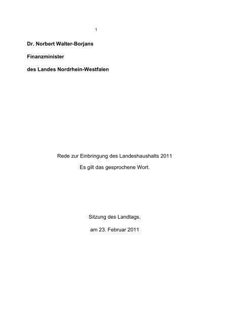 Die Rede von Finanzminister Norbert Walter-Borjans im Landtag