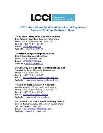 List of Registered Training Centres - Home - LCCI International ...