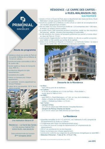 RÉSIDENCE « LE CARRE DES CARTES - Primonial Immobilier