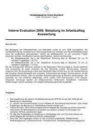 Interne Evaluation 2008: Belastung im Arbeitsalltag Auswertung