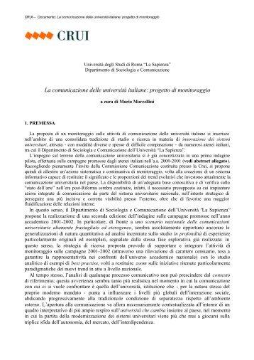 La comunicazione delle università italiane: progetto di ... - Crui