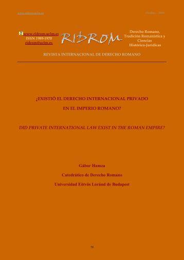 ¿existió el derecho internacional privado en el imperio romano?