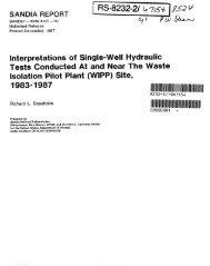 Beauheim 1987 - Waste Isolation Pilot Plant - U.S. Department of ...