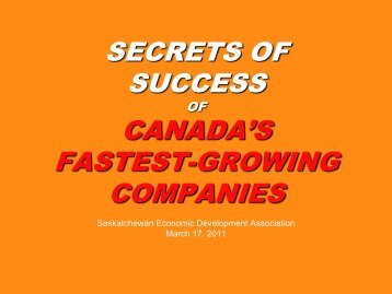 secrets of success of canada's fastest-growing companies - SEDA ...