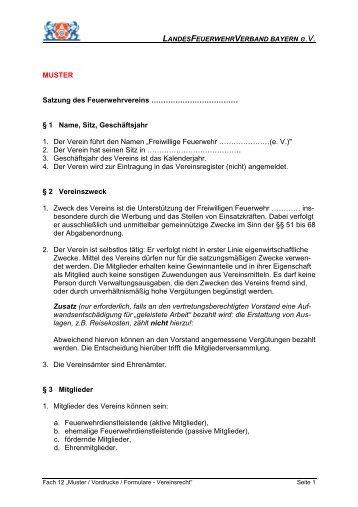 muster satzung des feuerwehrvereins kfv hof - Vereinssatzung Muster