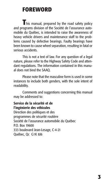 Wheel loss due to faulty bearings - Société de l'assurance ...