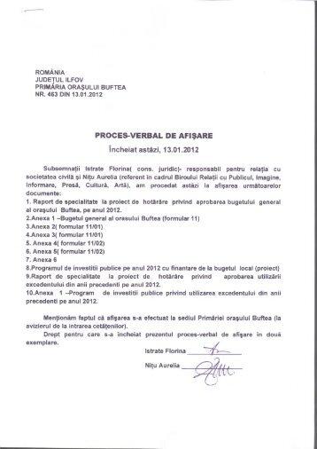 Proces verbal de afisare proiect buget local - Primaria buftea