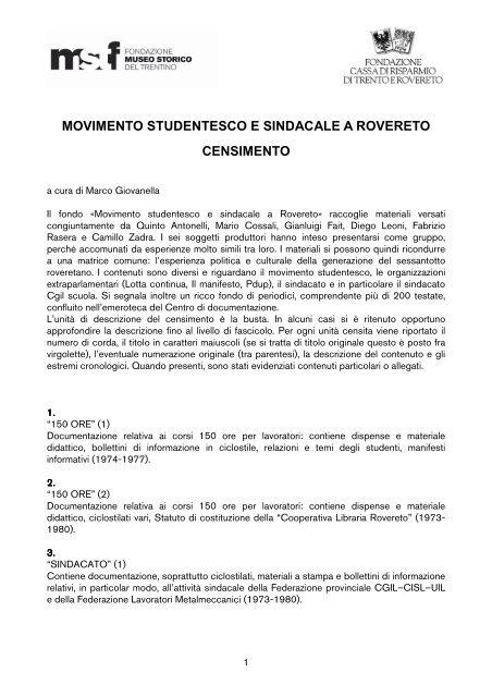 Censimento Mov Stud Sind Rovereto pdf - Fondazione Museo