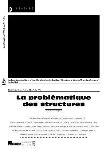 1992 La problématique des structures - Africultures