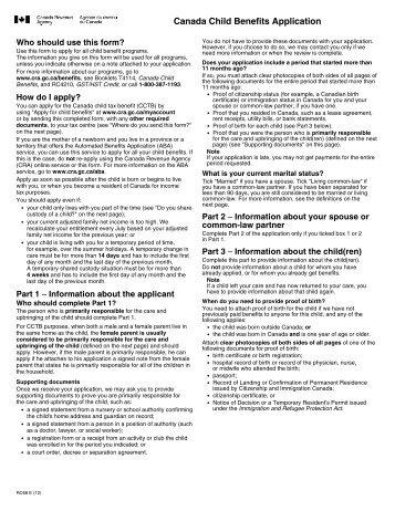 Canada Child Benefits Application - Agence du revenu du Canada
