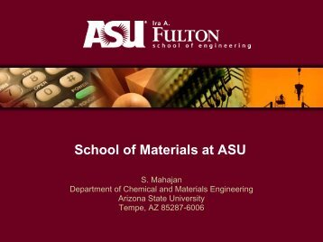 New Materials School at Arizona State University