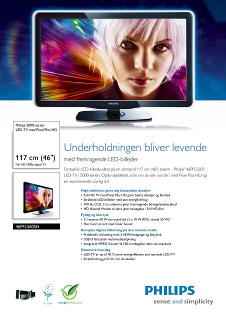 46PFL5605H/12 Philips LED-TV med Pixel Plus HD