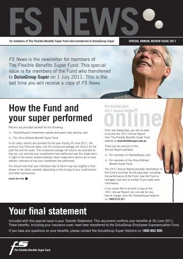 How the Fund and your super performed Your final ... - Towers Watson
