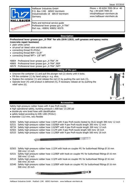 Grease gun X-TRA for oils, soft grease - Hallbauer Viernheim