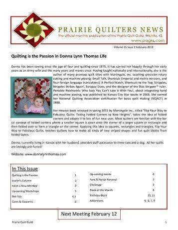 February 2013 - Prairie Quilt Guild