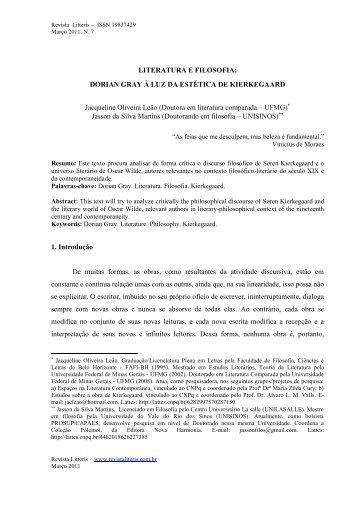 LITERATURA E FILOSOFIA: DORIAN GRAY À LUZ DA ESTÉTICA ...
