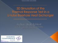3D Simulation of the Thermal Response Test in a U ... - COMSOL.com