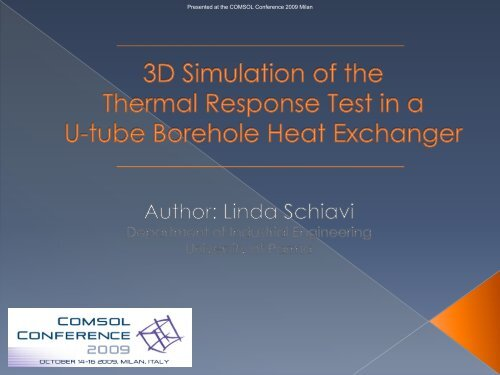 3D Simulation of the Thermal Response Test in a U