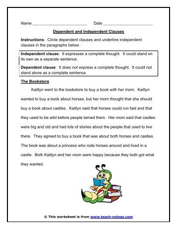 Worksheets Independent And Subordinate Clauses Worksheet relative clauses worksheet teach nology dependent and independent nology