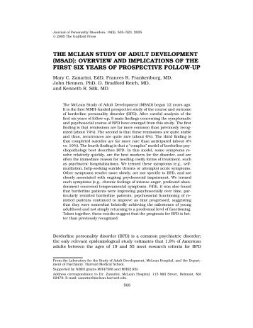 the mclean study of adult development - Center for Addictions ...