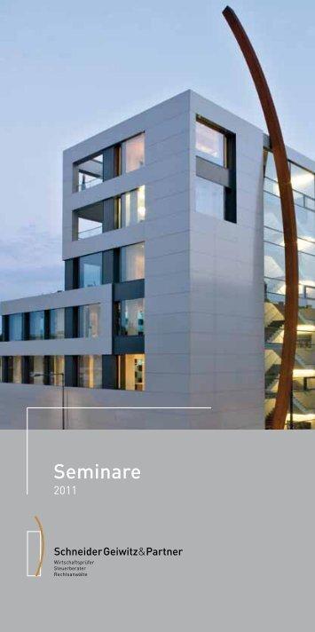 Seminare 2011 (PDF) - Schneider Geiwitz & Partner