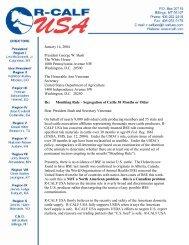 January 14, 2004 President George W. Bush The White ... - R-Calf