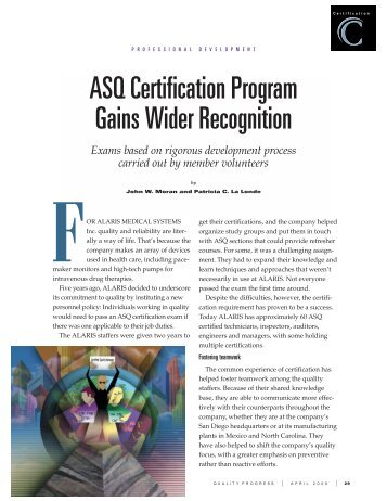 Recommended ASQ Certification Order by Career Track